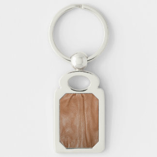 The Look of Soft Supple Brown Leather Grain Keychain