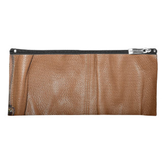 The Look of Soft Supple Brown Leather Grain Pencil Case