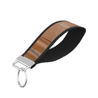 The Look of Soft Supple Brown Leather Grain Wrist Keychain