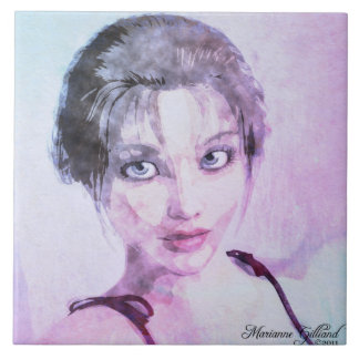 The Look Watercolor Art Tile