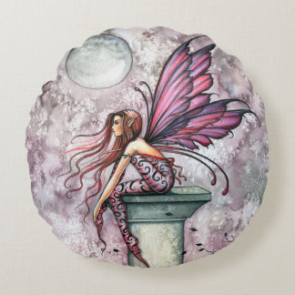 The Lookout Fairy Fantasy Art Round Pillow
