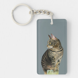 """""""The Lookout"""" Tabby Cat on Wood Post Illustration Keychain"""