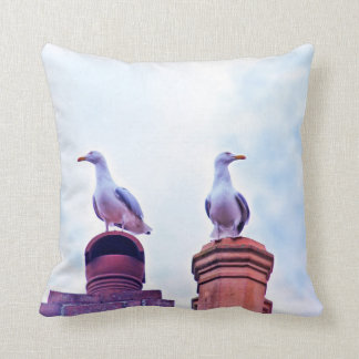 The Lookouts gull birds Throw Pillow