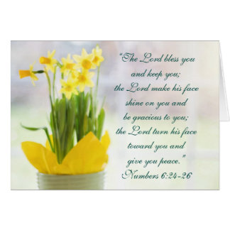 The Lord Bless You Bible Verse, Daffodils Custom Card