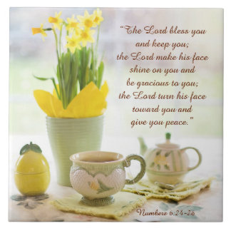 The Lord Bless You Bible Verse Tea Party Daffodils Ceramic Tile