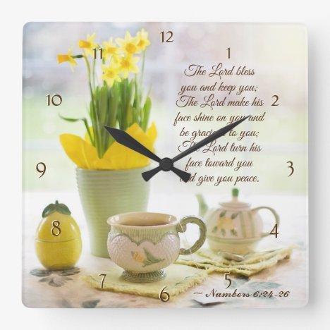 The Lord Bless You Numbers 6:24-26 Bible Verse Square Wall Clock