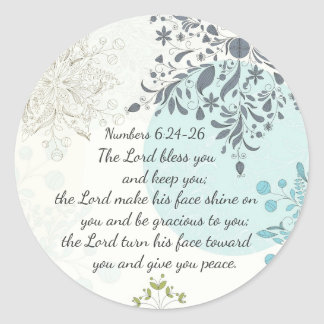 The Lord Bless You, Numbers 6:24 Bible Verse Classic Round Sticker
