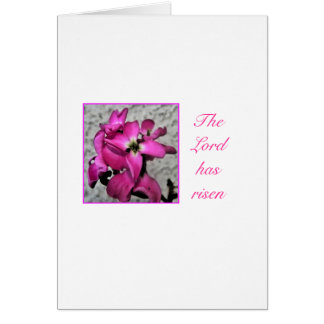 The Lord has risen pink floral easter card