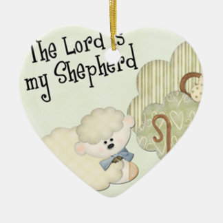 the lord is my shepard kids christian Double-Sided heart ceramic christmas ornament