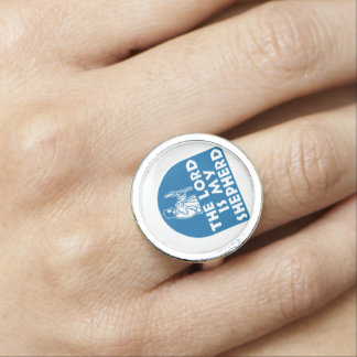 The Lord is my Shepherd Blue Photo Ring