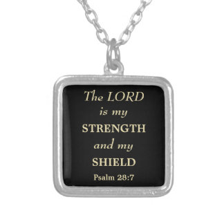 The Lord is My Shield Gold Christian Square Pendant Necklace