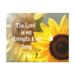 The Lord is my Strength and Song Bible Verse Canvas Print
