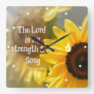 The Lord is my Strength and Song Bible Verse Square Wall Clock