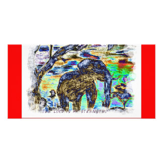 The Lord is my strength Colourful Elephant Card