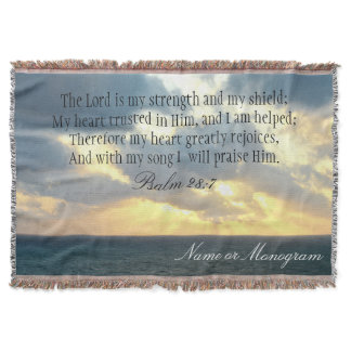 The Lord is My Strength Psalm Christian Bible Throw Blanket