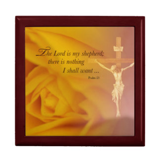 The Lord is Shepherd, Cross & Yellow Rose Trinket Boxes