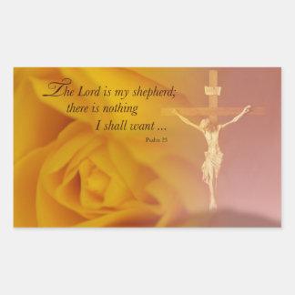 The Lord is Shepherd, Cross & Yellow Rose Rectangular Sticker