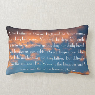 The Lord s Prayer bible verse on a beautiful sky Throw Pillows