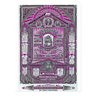 The Lord s Prayer vintage engraving Pink Post Cards