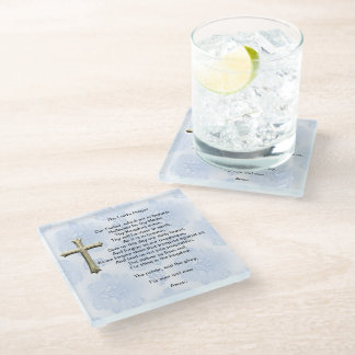 The Lord's Prayer (blue) Glass Coaster
