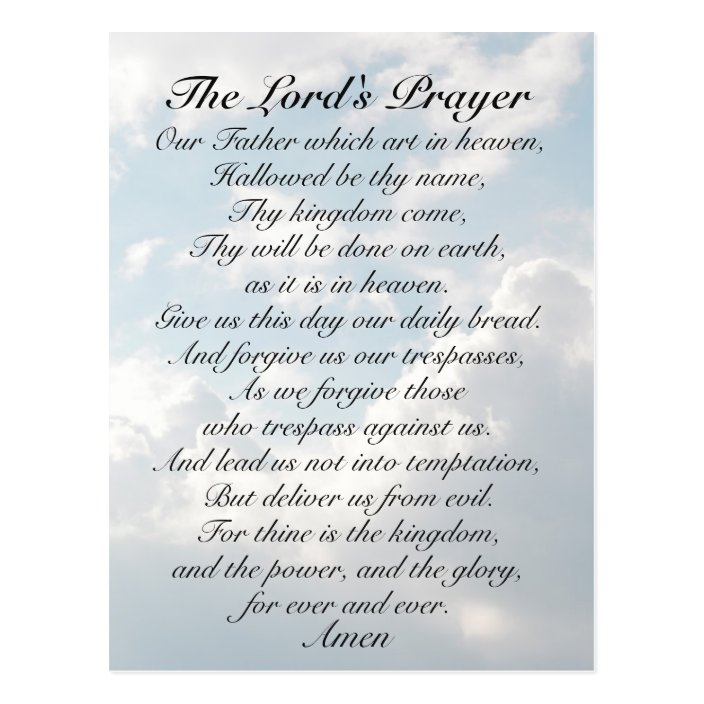 The Lord's Prayer, Matthew 6:9-13 Bible Verse Postcard | Zazzle.com