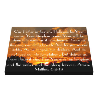 The Lord's Prayer on a beautiful sunset Canvas Print