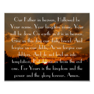 The Lord's Prayer on a beautiful sunset Print