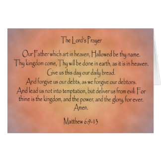The Lord's Prayer, Orange Vintage Background Stationery Note Card