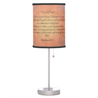 The Lord's Prayer, Orange Vintage Background Table Lamp
