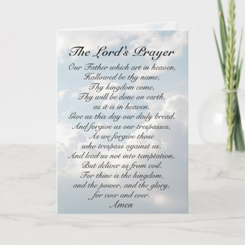 The Lord's Prayer, Our Father which art in Heaven, Card