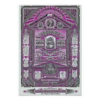 The Lord's Prayer vintage engraving (Pink) Poster
