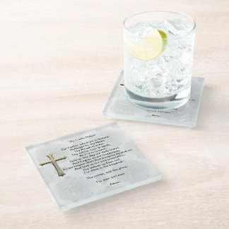 The Lord's Prayer (white) Glass Coaster