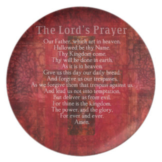 The Lord's Prayer Words traditional Melamine Plate