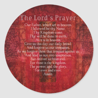 The Lord's Prayer Words traditional Classic Round Sticker