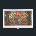 """The Lord&#39;s Supper Business Card Case<br><div class=""""desc"""">colorful painting in reds and golds of &#39;the last supper&#39; by simon ushakov. jesus is at a long rectangular table with twelve apostles with golden halos. wine goblet and gold platter with bread at the table in an interior decorated with a beautiful red drape. bright bold colors and beautifully balanced...</div>"""