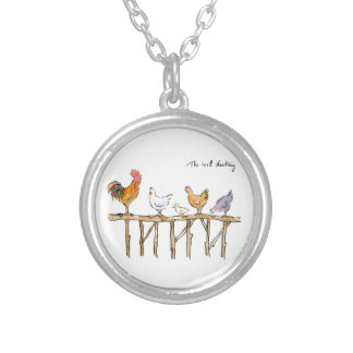 The lost duckling, chickens and duckling silver plated necklace