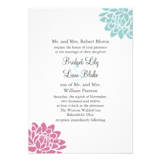 The Lotus Flower Wedding Invitation 2(turquoise)