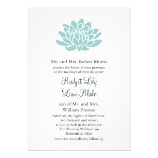 The Lotus Flower Wedding invitation (turquoise)