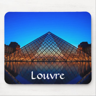 The Louvre Art Museum Pyramid at Sunset Mousepad