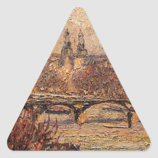 The Louvre, Morning by Camille Pissarro Triangle Sticker
