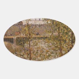 The Louvre, Morning, Sun, Quai Malaquais by Camill Oval Sticker