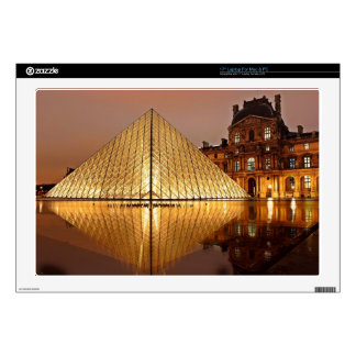 The Louvre Museum in Paris France at night Skins For Laptops