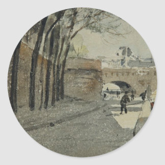 The Louvre, Paris by Albert Anker Classic Round Sticker
