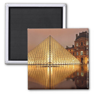 The Louvre Pyramid in the courtyard of the Louvre Refrigerator Magnet