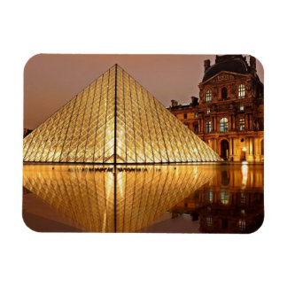 The Louvre Pyramid in the courtyard of the Louvre Rectangle Magnet
