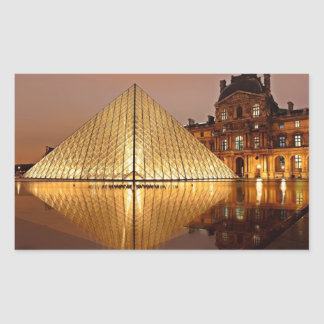 The Louvre Pyramid in the courtyard of the Louvre Rectangular Sticker