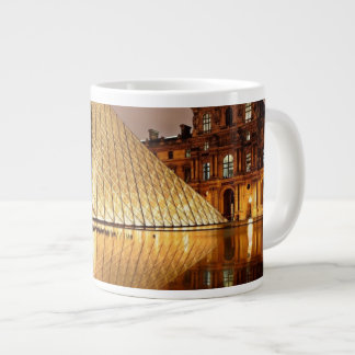 The Louvre Pyramid in the courtyard of the Louvre Extra Large Mugs