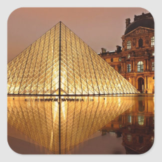 The Louvre Pyramid in the courtyard of the Louvre Square Sticker