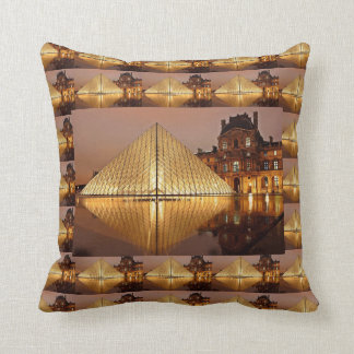 The Louvre Pyramid in the courtyard of the Louvre Throw Pillow