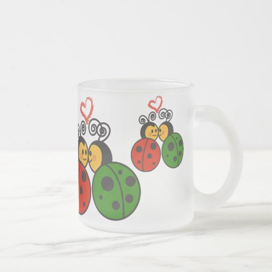 The love bugs frosted glass coffee mug